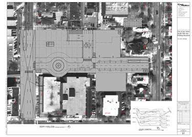 Aerial view of block where the proposed underground parking garage would be built.