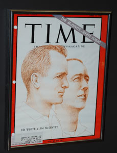 Astronauts Ed White and Jim McDivitt on the cover of Time magazine after completing the first space walk in 1965.