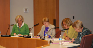 From left: Ann Arbor District Library Director Josie Parker, board chair Rebecca Head, Jan Barney Newman and Prue Rosenthal, at the Sept. 15 board meeting.