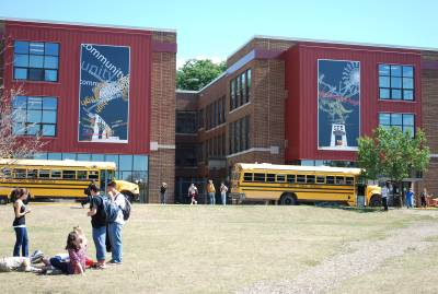 View of both banners at Community High School, facing South Fifth Avenue.