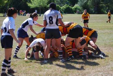 The Ann Arbor Women's Rugby Football Club battled Detroit on Saturday in Riverside Park.