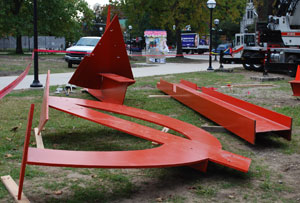 "Three of five pieces that form ""Orion,"" a sculpture by Mark di Suvero installed Monday in front of the University of Michigan Museum of Art."