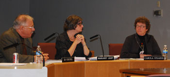 Ed Surovell, Margaret Leary and Carola Stearns at the Oct. 20 Ann Arbor District Library board meeting.