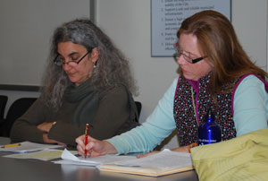 Market commissioners Diane Black and Genia Service at the Oct. 30 meeting.