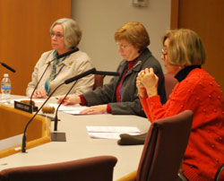 Josie Parker, Rebecca Head and Jan Barney Newman listen as other library board members discuss the decision to put the downtown building project on hold.