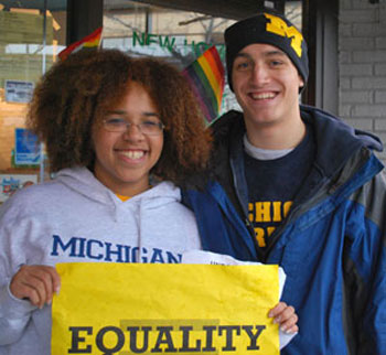 UM law student Alysha Rooks and Chris Armstrong, a UM sophomore, helped organize the march.