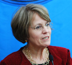 UM President Mary Sue Coleman answers a reporters question about the Pfizer property deal.