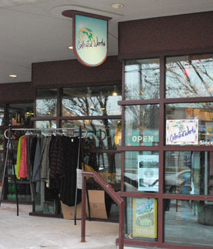 The entrance to Collected Works, a womens clothing store in Kerrytown.