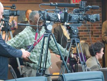 The mini media mob at Thursdays UM regents meeting.