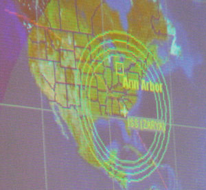 This image showing the location of the International Space Stations orbit, was projected onto a screen at the Hands On Museum.