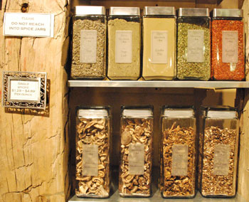 A selection of spices and dried mushrooms at Spice Merchants, on the second floor of Kerrytown Market & Shops.