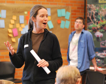 Lisa Brush of the Stewardship Network in Ann Arbor was facilitator for the Local Food Summit. In the background is Shannon Brines of Brines Farms, one of the organizers.
