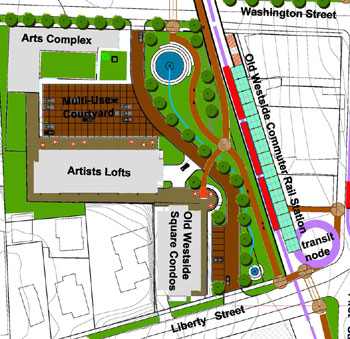 social street as envisioned by the Old West Design Group's proposal for redevelopment of the 415 W. Washington site