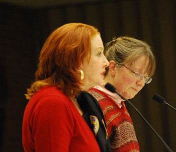 Chris Crockett (left) and Rita Mitchell both spoke against the idea of creating parking in place of the three buildings.