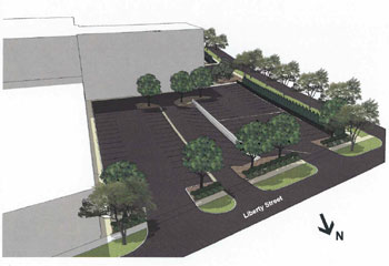 Artists rendering showing how the parking lot would look when expanded. To get an idea of the grade change, note the retaining wall dividing the two sections. Cars would be able to loop around to the right at the back (south end) of the lot.