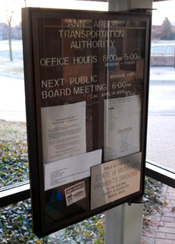 AATA bulletin board where notice of public meetings is made.