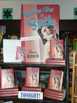 A display of Steve Amicks new book at Nicolas Books in the Westgate Shopping Center.