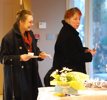 Ann Arbor city councilmember Sabra Briere and Julie Steiner, executive director of the Interfaith Hospitality Network,