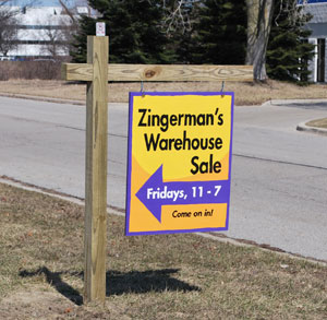 This is about the only indication you'll find that Zingermans Mail Order is having a warehouse sale on Fridays.