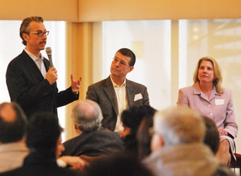 Matt Kraner, Tony Dearing and Laurel Champion talk about their plans for AnnArbor.com at a community forum on Thursday.