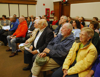 A crowd waited to speak during public comment at the April 21 Park Advisory Commission