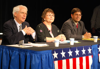 Three candidates are running unopposed for the Ann Arbor Public Schools board of trustees. From left: Glenn Nelson, Irene Patalon, xxx