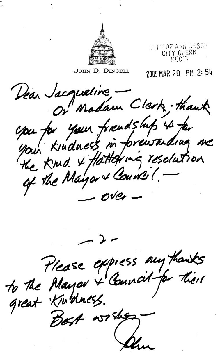 Thank You Note For Congressman John Dingell As Stamped And Scanned By The  City Clerku0027s