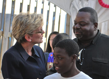Governor Granholm with  Peace Neighborhood director and student.