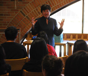 Former Ann Arbor mayor Ingrid Sheldon, speaking to a leadership forum at Huron High School.