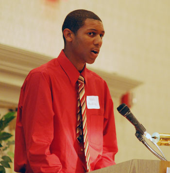 Malik Redding, an entrepreneur and sophomore at Huron High, spoke at the Ann Arbor Area Community Foundation annual meeting on Tuesday.