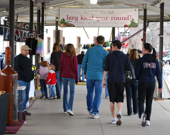 Shoppers at the Sunday Artisan market in Kerrytown.