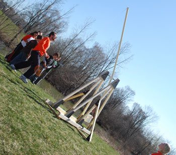 Trebuchet just after launch.