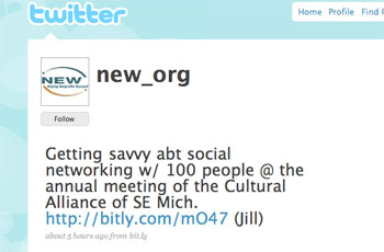 One of NEWs recent Tweets, commenting on Wednesdays Cultural Alliance meeting