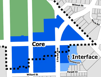south university area of ann arbor core interface map