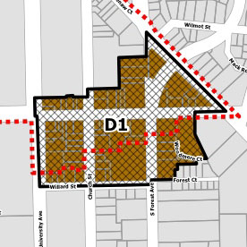 map with brown blob and red dotted line showing zoning base overlay for South University Area in Ann Arbor