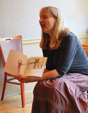 Joanna Hastings, head of school at Summers-Knoll, reads from Moon Wolf