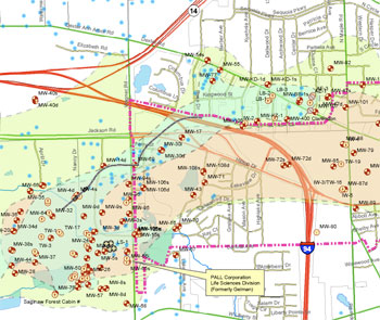 A section from a map showing the Pall Life Sciences 1,4 dioxane plume. The red dots indicate monitoring wells.