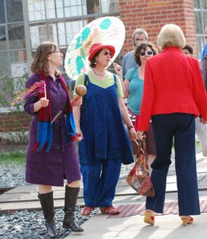 pedestrian parade encounter