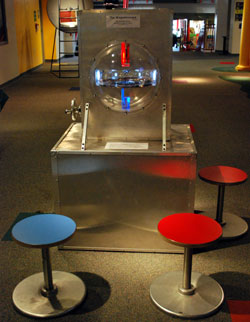 science display with red blue magnets and matching stools