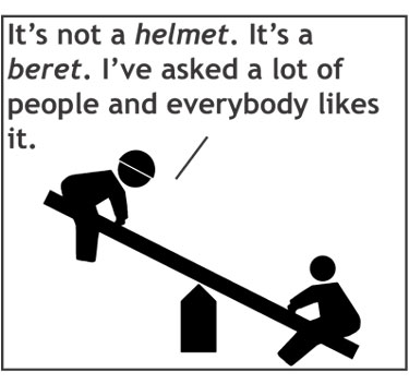 comic about hats that might look like berets two guys on a teeter totter