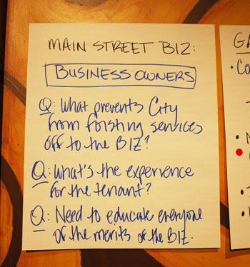 Ideas generated from a recent meeting of businesses in the Main Street area