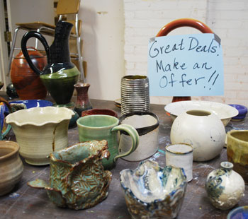 Ceramics for sale or free at the Ann Arbor Art Centers Felch studios.