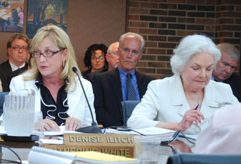 Regents Denise Illitch, left, and Julia Darlow were the only two who voted against the proposed budgets on Thursday.