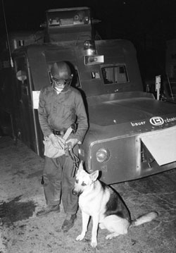 June 18, 1969: Police dog and armored car on South University. (Photo courtesy of Jay Cassidy.)