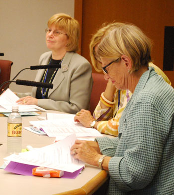 Rebecca Head, left, was elected to her second term as president of the Ann Arbor District Library board.