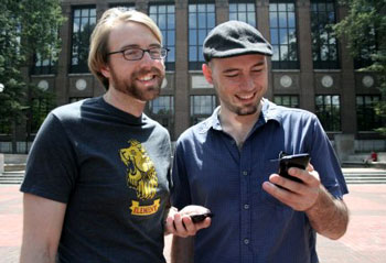iPhone mutliplayer game Phonagle; two guys holding iPhones