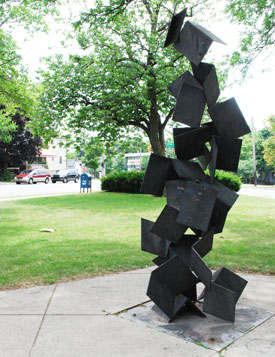 The sculpture at Hanover Park at the corner of Packard and Division.
