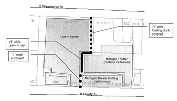 Alley to the east of the McKinley Towne-Hall Centre from Ann Arbor city planning staff report.