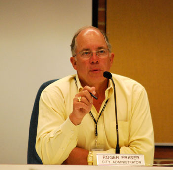 Ann Arbor city administrator, Roger Fraser, at the city council work session on the city income tax.