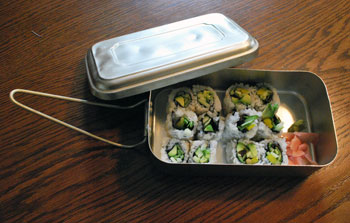 Sushi from Totoro in a metal lunchbox brought back from China.